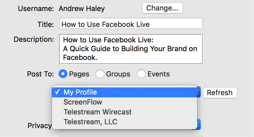 How to stream to Facebook Live with Telestream Wirecast